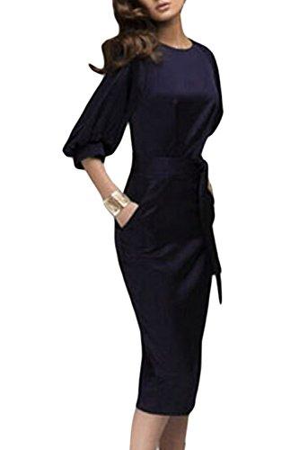 Frauen Ist Jahrgang 1940, Ist Bischof Ärmel Elegant Büro Sommerkleid Mit Selfbelt Navy S (Kleid Bischofs Blau)
