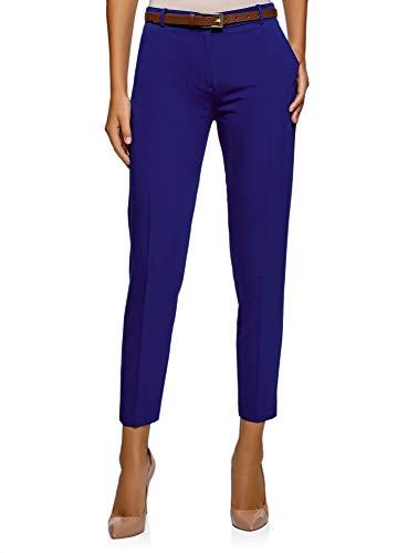 Oodji collection donna pantaloni stretti con cintura, blu, it 42 / eu 38 / s