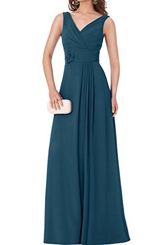 TOSKANA BRAUT Damen einfach bodenlang V-Ausschnitt aermellos Chiffon Falte Applikation Perlen Abendkleid Partykleid Promkleid Inkblau