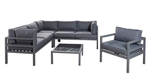 Wholesaler GmbH LC Garden Sitzgruppe Loungeecke 5-teilig aus Aluminium in grau inkl. Rückenkissen und Polsterauflagen