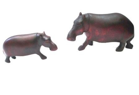 Katangi Handcrafts Hand Carved Wooden Hippo (S)