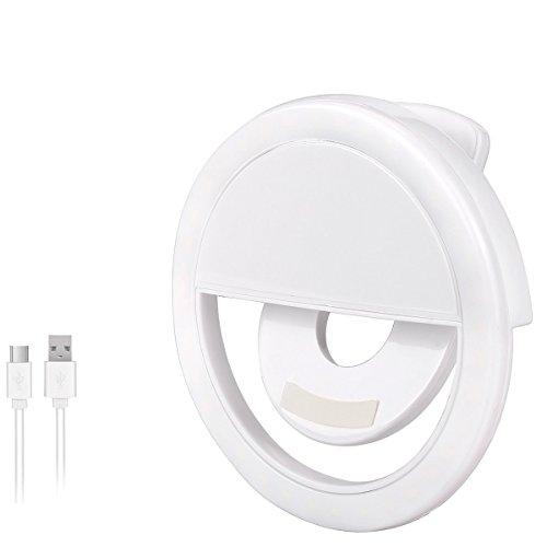 AURSTORE Selfie Light Ring,Selfie Anneau Lumière Rechargeable (Blanc)