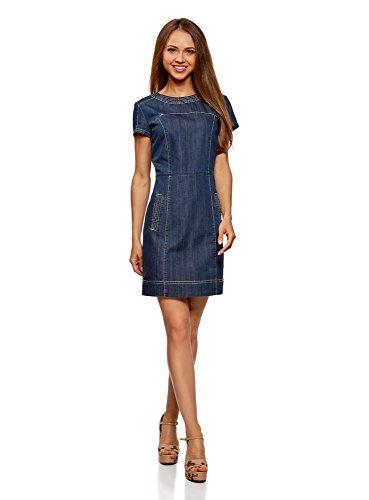 oodji Collection Damen Denim-Kleid mit Reißverschluss, Blau, DE 42 / EU 44 / XL