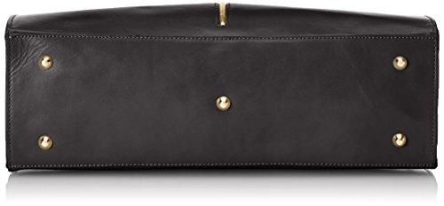 CTM Borsa da Donna Classica, 38x27x12cm, Vera pelle 100% Made in Italy Nero