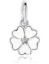 Li.Du Sterling Silber Klee Anhänger Damen Armband Halskette Zubehör (Keine Kette)