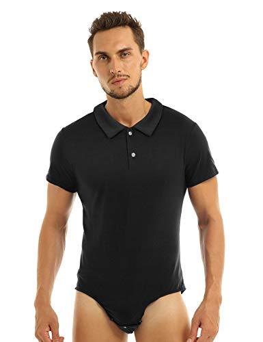 Agoky Herren Body Männer Einteiler Unterwäsche Kurzarm Unterhemd Rundhals T-Shirt Einfarbig Baumwolle Tops und Ouvert Slip mit Knöpfe im Schritt Polohemd Schwarz X-Large