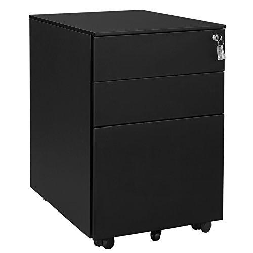 SONGMICS Stahl Rollcontainer mit 3 Schubladen und Hängeregistratur Abschließbarer Büroschrank, Schrankkorpus Vormontiert, 39 x 60 x 52 cm Schwarz OFC60BK -