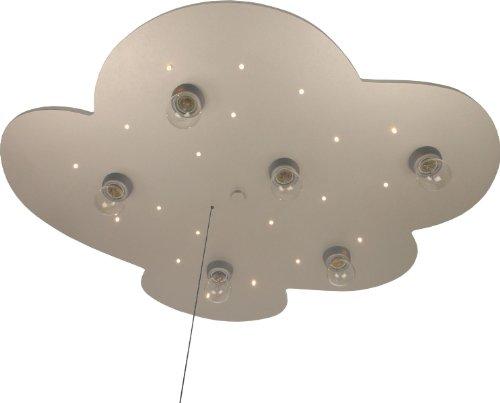 Niermann Standby 666 Deckenleuchte Wolke titan/silber XXL, 6x E14 max. 40 Watt, 20 x LED Lichtpunkte, 54 x 74 x 8 cm, Serienzugschalter für Schlummerlichtfunktion
