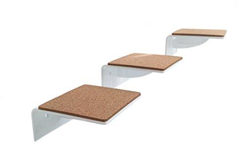 *3er Set Katzentreppe weiß, gelaserte Kanten, ein Muss für jeden Katzenfan – Stufengröße: 14 x 15 cm*