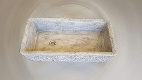 Mondo Artistica Lavello Lavabo lavandino in Polvere di Marmo da Giardino Vasca Senza gocciolatoio - Misura CM 80x40x20 Grigio Made in Italy