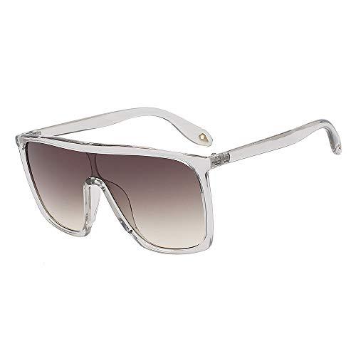 Zbertx Klassische Frauen Sonnenbrille Big Square Uv400 Übergroße Sonnenbrille Gradient Eyewear Men,Clear W Brown Lens