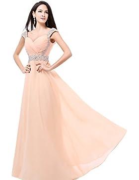 Balllily, abito da sera, da donna, lungo, in chiffon, per cerimonie ed eventi eleganti