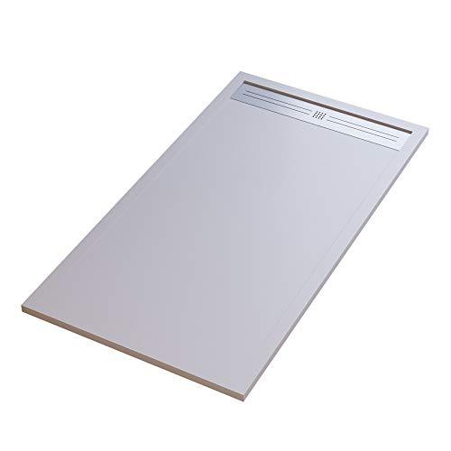 Receveur de douche design, style décontracté, minéral, en marbre, grille latérale en acier inoxydable - Blanc 80x140