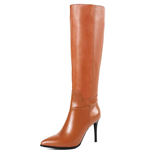 d0cd5915cea MERUMOTE Women's Leather Boots, Thin High Heels with Pointed Toe Shoes  Spring Winter Knee High Booties Brown 40.5 EU