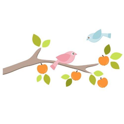 Obstgarten Zweig mit Vögeln (Recht) Wandtattoo von Stickerscape - Wandaufkleber (Großes Größe)