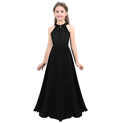 Tiaobug Mädchen Kleid Kinder festlich Spitzen langes Kleid Hochzeit Partykleid Blumenmädchenkleid 104 116 128 140 152 164 Schwarz B 164/14Jahre