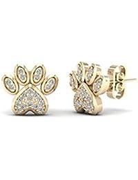 NV Jewels Round Cut American Diamond CZ Dog Paw Print Animal Stud Earrings 18k Yellow Gold Plated 925 Sterling...