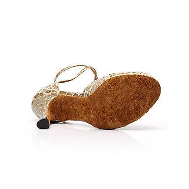 XIAMUO Anpassbare Damen Tanz Schuhe Kunstleder Kunstleder Latin Sandals Chunky HeelPractice/Anfänger/Professional/Innen-/ Schwarz