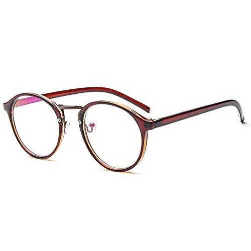 Simshew Brillengestelle Nerd Brille Retro Runde Unisex Dekorative Brille Klassische Mode Damen/Herren Eyewear Schön (Color : Tawny)