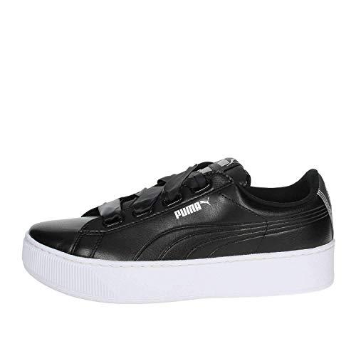 Puma Sneakers Vikky Platform Ribbon SL Metal Nero Bianco Argento 367816-02 (42 - Nero)