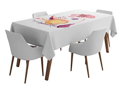 Timingila Weiß Halloween Artikel Halloween Esstischdecke Tischwäsche für Hochzeiten Bedruckte Tischdecke waschbare Tischdecken-56 x 92 Zoll
