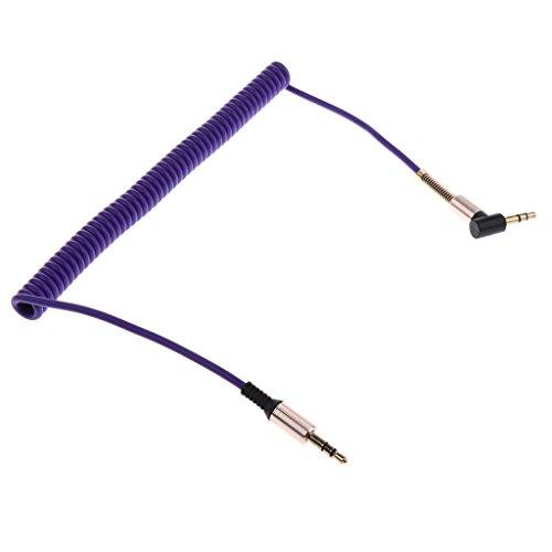 Sharplace 90 Grad Rechtwinklige 3.5mm Male zu Female Anschluss Audio Klinken Spiral Kabel - Farben Auswählen - Lila