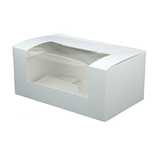 BIOZOYG Cupcake Patisserie-Schachtel pappe weiß I Hochwertige Cupcake Muffin-Box Gebäck Geschenkbox Kuchen-Karton recycelbar I 50x stabile Keks Verpackung mit Sichtfenster 18x11x8cm, rechteckig -
