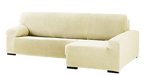 Eysa Cora Bi-Élastique Chaise Longue Droite, Vue frontale, Polyester Coton, Beige, 39x35x19 cm