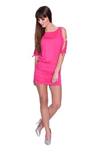 AE Damen Kleid Dress Schulterfrei Abendkleid Cocktailkleid mit Strass Pailetten Gitzer Cut-Outs Minikleid Gr. 34 36-38 S M L XL, 5004 Pink L/XL 40/42