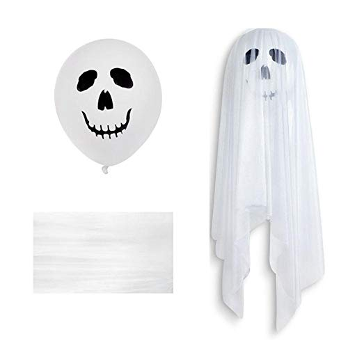 FOONEE Halloween-Luftballons, Halloween-Luftballons, Dekoration, weiß, lustige Geisterballons, die an der Wand befestigt werden und mit weißem Tüll bedeckt sind für Halloween-Party-Zubehör