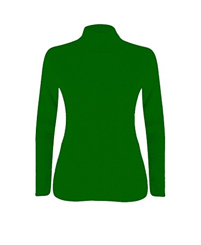 Femmes Polo Roll Over Long Neck Jumper Haut Jade