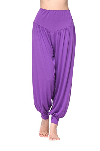BeautyWill Haremshose/Yogahose/Jogginghose/Yoga Pilates Hosen/Yoga pants Hose für Damen - für Sport und Training aus 95% Modal L, Lila
