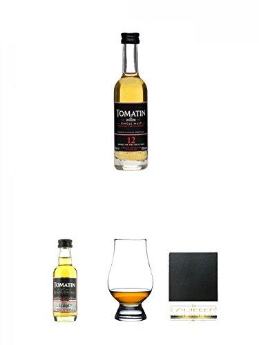 Legacy-schiefer (Tomatin 12 Jahre Single Malt Whisky Miniatur 5 cl + Tomatin Legacy Single Malt Whisky MINIATUR 5 cl + The Glencairn Glass Whisky Glas Stölzle 1 Stück + Schiefer Glasuntersetzer eckig ca. 9,5 cm Durchmesser)