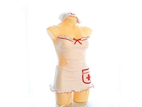 FERFERFERWON Liebe Kostüm Krankenschwester Dessous, Halloween Cosplay Kostüm Krankenschwester Sexy Uniform + Mütze Hut Anzug (Einheitsgröße) Paar Geschenk