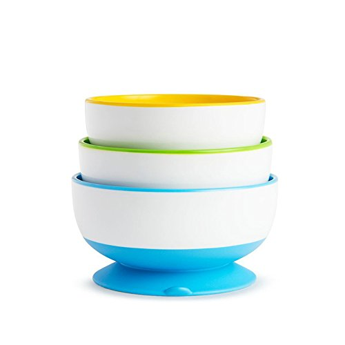 Baby Feeding Bowls Stay Put Suction 3 Pack Non Spill Slip Munchkin 31BvzCyQNzL