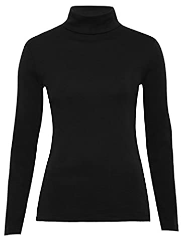 Fashion Valley Polo Neck Top Stretch Ladies Roll Neck Long Sleeve Turtle Neck Top Jumper 8-14 UK M/L 12-14 Black