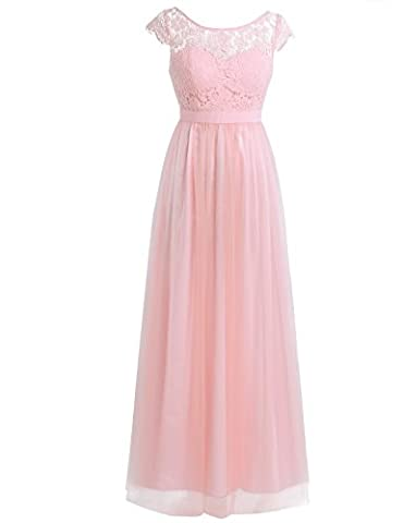 TiaoBug Women Ladies Cap Sleeves Lace Tulle Wedding Bridesmaid Dress Long Evening Prom Dresses Pearl Pink