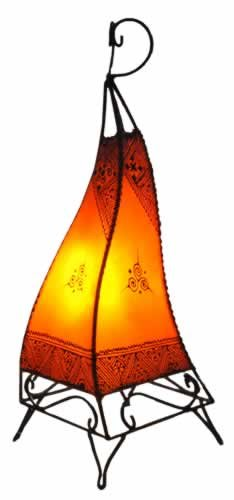 Plain Moroccan Henna Floor Lamp - Square - Orange 60CM - Very Limited Offer