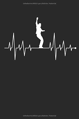 Herzschlag Herzlinie Herzfrequenz Slackline: Notizbuch DIN A5 I Liniert I 120 Seiten I Sportart Trendsportart Freestyle Slacklinen Slackliner Seiltanz Balance