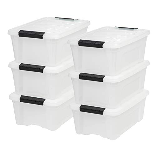 Iris USA, Inc. TB-42 12 Quart Stack & Pull Box, Multi-Purpose Storage Bin, 6 Pack, Pearl