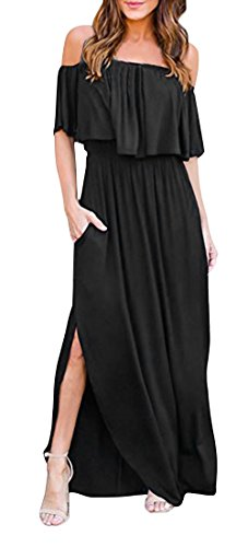 Flying Rabbit Damen Sommer Kleid Damen Off Shoulder Abendkleid Maxikleid Cocktailkleid Schulterfrei Ruffle Side Split Lange Sexy Kleid (Large, Schwarz)