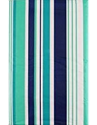 Summer Fun Beach Streifen lila, Blaugrün und Grün mit Reißverschluss Regenschirm Loch Vinyl Tischdecke Flanell Rückseite 70