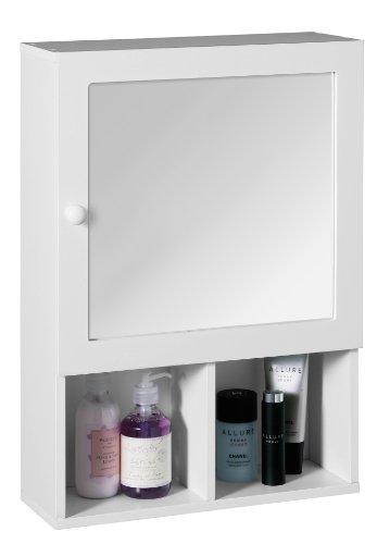 Premier Housewares – Armario de pared para baño (puerta de espejo, 2 compartimentos, 56 x 40 x 15 cm), color blanco
