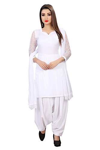 e-cloth Women\'s Cotton Unstitched Patiyala Salwar Suit(WHITE & KUDI)