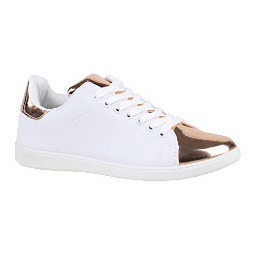 Sportliche Damen Schuhe Sneakers Leder-Optik Sneakers Low 155822 Weiss Rose Gold Lack 39 | Flandell® (Weiß Schuhe Gold)