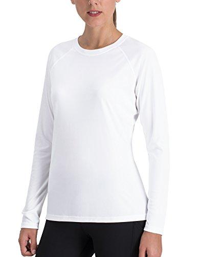 NAVISKIN Damen UPF 50+ Langarmshirt atmungsaktives Outdoor-Shirt Skincare Raglan-T-Shirt Weiß Größe L