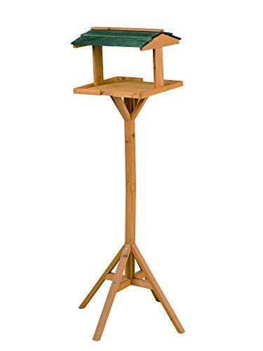 Vogelfutterhaus mit Ständer aus Holz, Vogelfutterstation, Futterspender, Vogelhäuschen ca. 116x30x30 cm