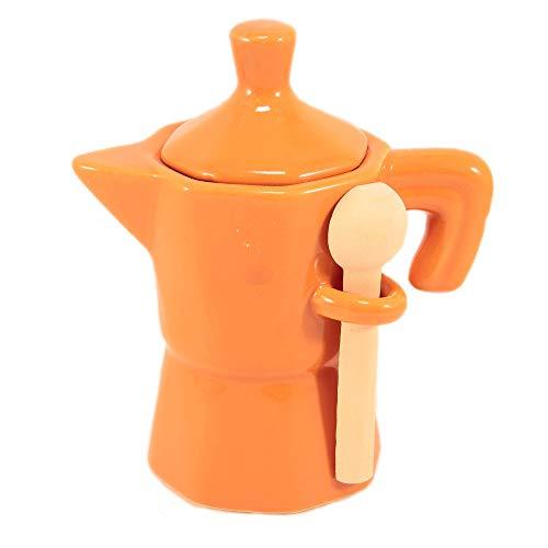 Zuccheriera a Forma di Moka Arancione Barattolo in Ceramica con cucchiaino in Legno.