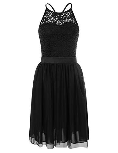 GRACE KARIN Elegantes Kleid mit Spitze Damen Sommerkleid Rockabilly cocktailkleid Partykleid mit...
