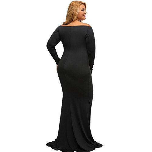 PU&PU Femmes Plus Size Formal / Travail / Party épaule Maxi robe, Deep V Long Sleeve Body Con white